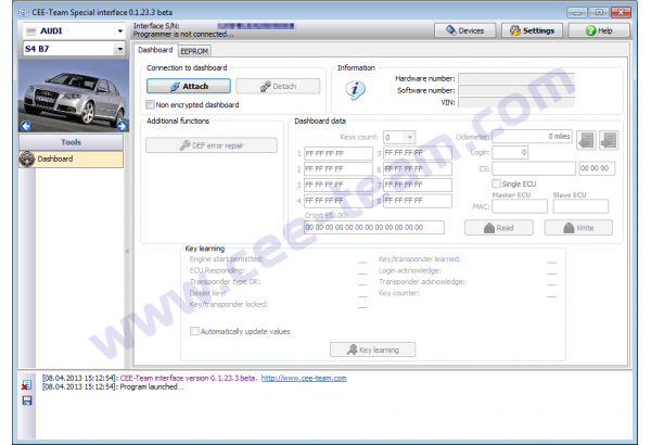 Screen of the software
